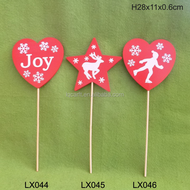 Christmas wooden pick with glitter