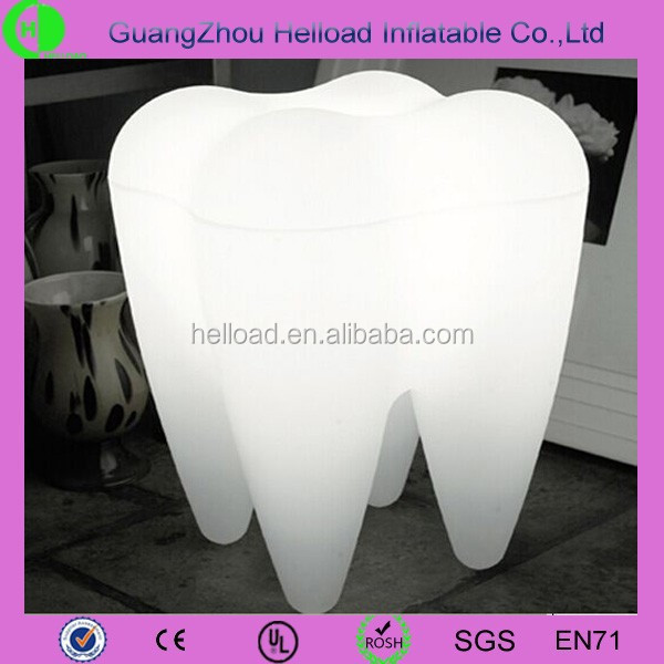 2015 advertising led inflatable tooth shaped balloon