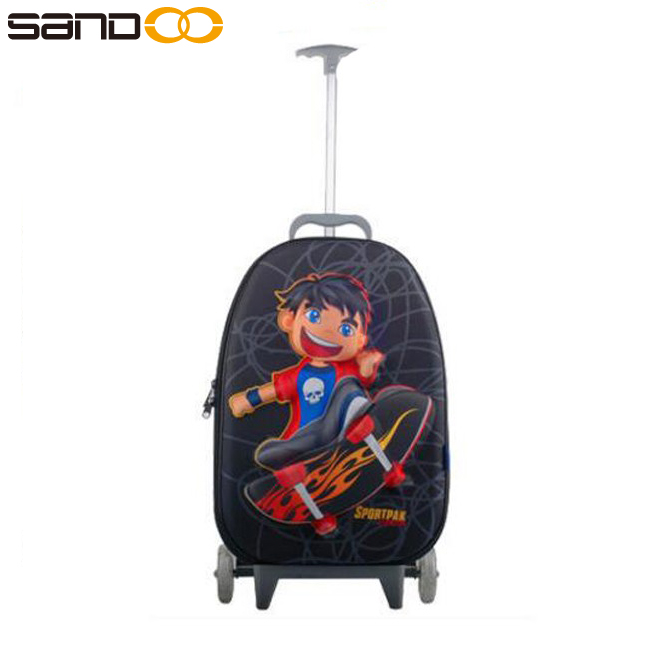 Wholesale 3D design cartoon kids brand names trolley bag for school