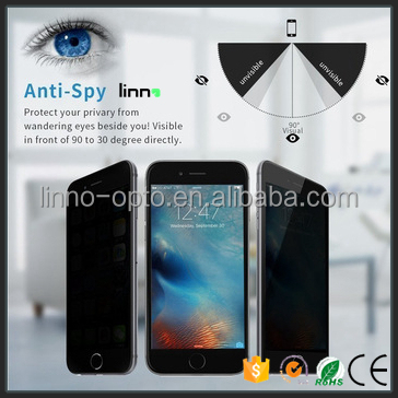 Linno wholesale cell phone accessory 9h explosion proof Tempered glass privacy screen for apple iPhone 7 7 plus protective film