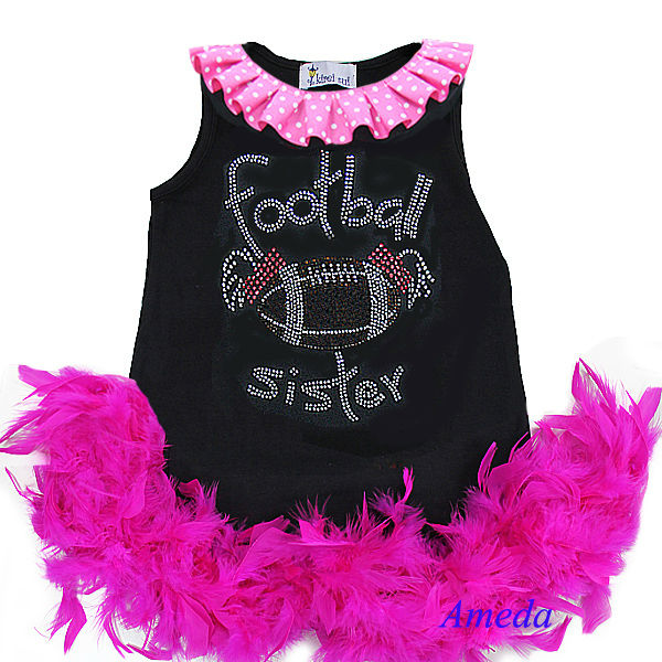 Girls Rhinestone Football Sister A-Line Black One-Piece Hot Pink Feather Dress 1-7Y