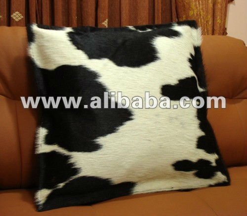 "19"" Leather Cowhide Pillow Cover Hair on Cushion Cover"
