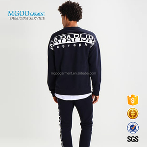 MGOO Garment Chest Pocket Men Sweatshirt Round Neck Sweatshirt Custom Back Printed Pullover