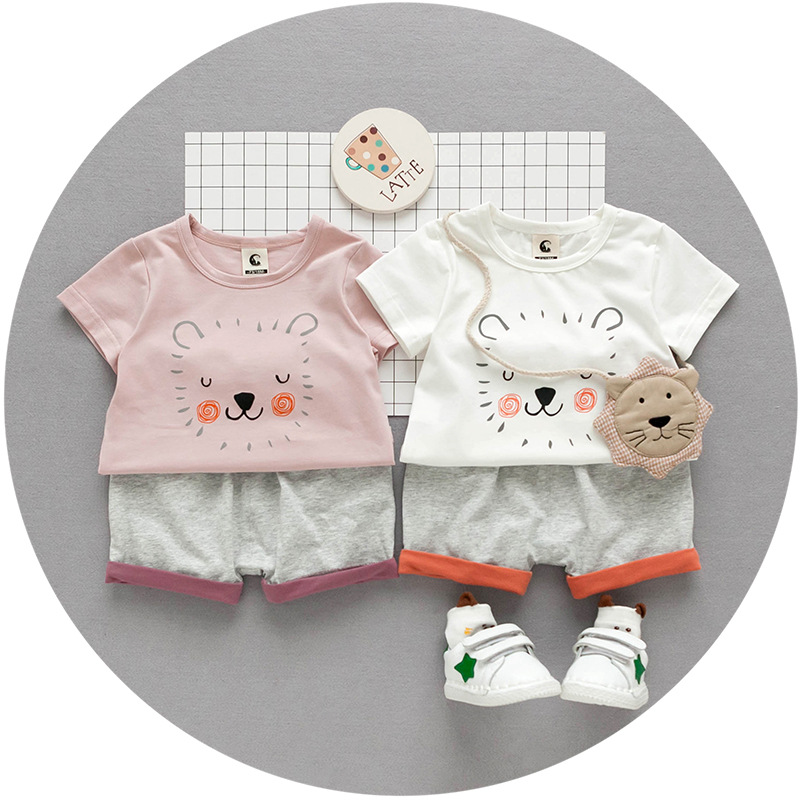 S33397W New Summer Lion Printed T-shirt +Pants Cotton Comfortable Boys Clothing Set