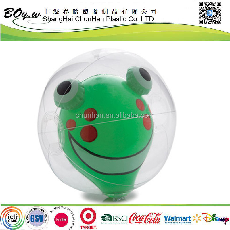 ISO factory eco-freindly testing promotion gifts PVC kids toys baby play beach frog inflatable animal inside ball