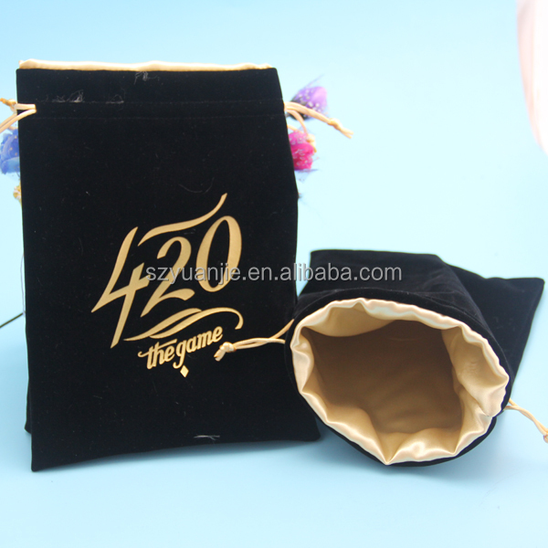 custom printed satin lined velvet pouches for jewelry