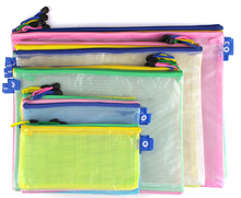 A4 A5 A6 Differ Size Plastic PVC Gridding Document Zipper Bag with Hook Pen Stationary Bag