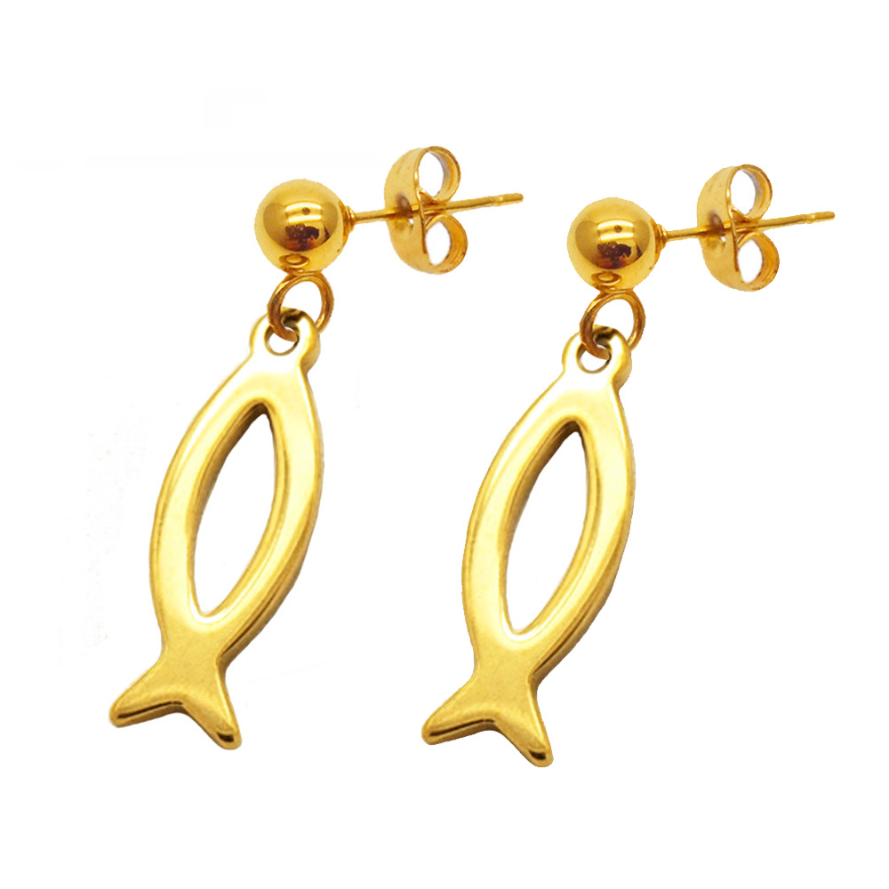 Olivia Women's Elegant Stainless Steel 2018 Jewelry Trends Gold Earring Charm Surgical Fish Shape Earings