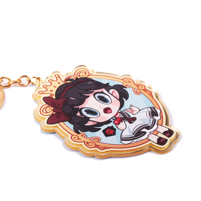 personalized print Japanese anime maid PMMA metal gold keychain charm