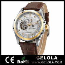 2014 Best Selling Mens Automatic Skeleton Watches,Luxury Royal Diamond Watches,Brown Leather Vogue Swiss Watch