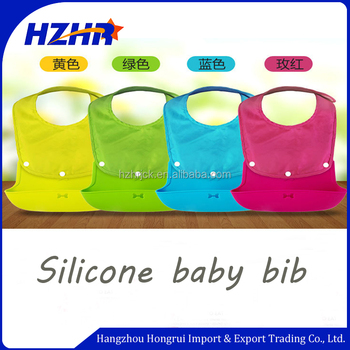 Split type silicon with pocket silicone baby bib Waterproof baby bandana bibs