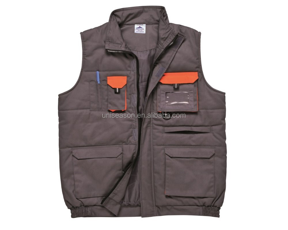 Men workwear vest with multi pockets in high quality