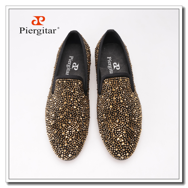 Luxury Evening Party Gold Crystals Men's Suede Crafted Slip-on Shoes