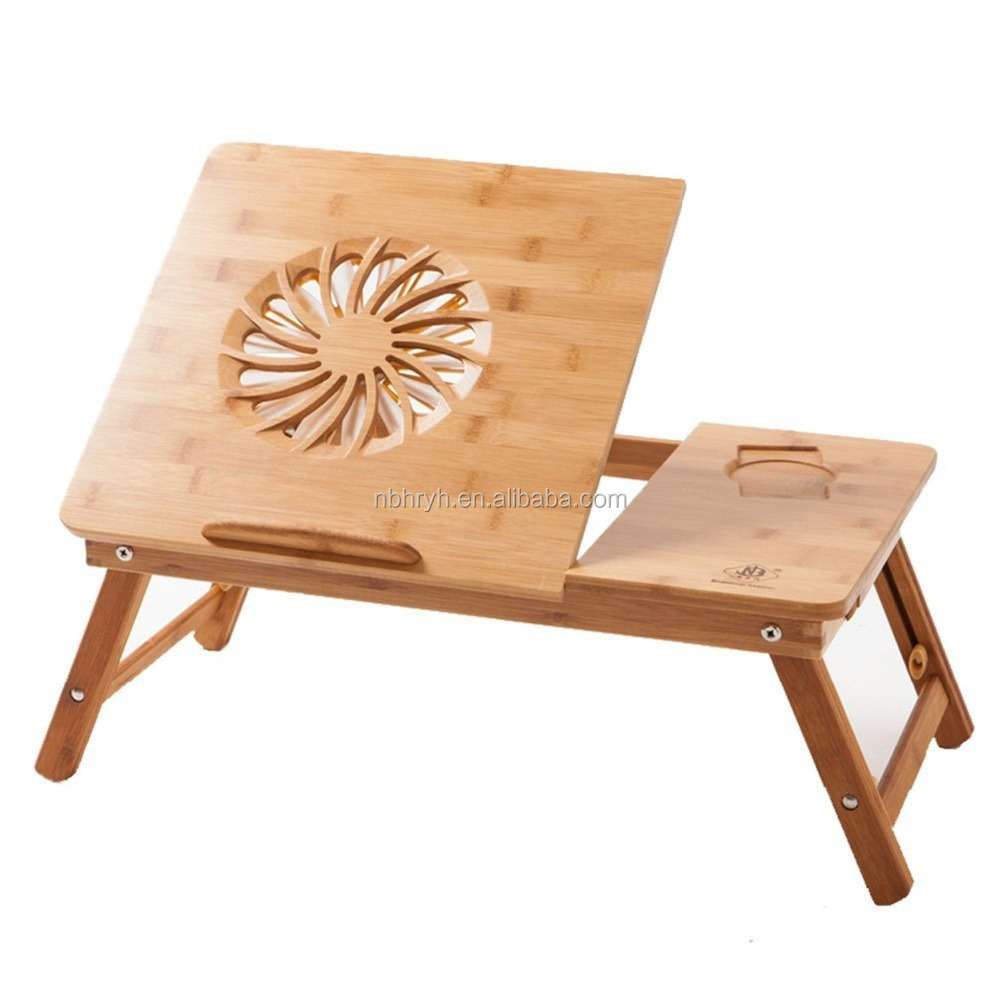 100% Bamboo Adjustable Laptop Desk Table with USB Fan ,Foldable Breakfast Serving Bed Tray w' Drawer