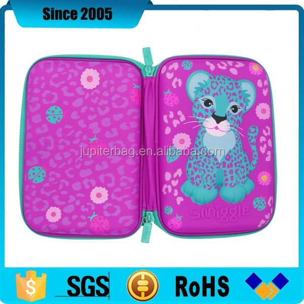 pink 3D full printed pu cover eva smiggle pencil case