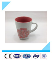 High quality red flower design with handle square ceramic mug