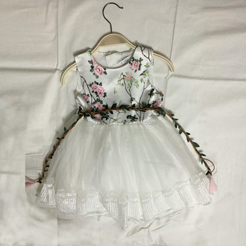 floral print kids party clothes weaven waistbelt uniqued special evening girls gowns sequin trim OEM high quality