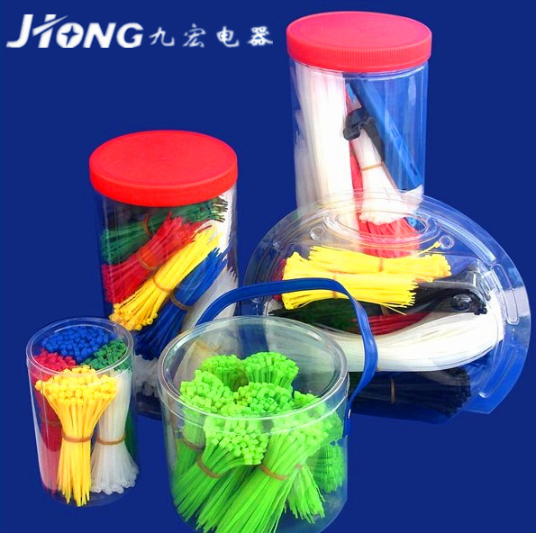Plastic box packing colored cable ties