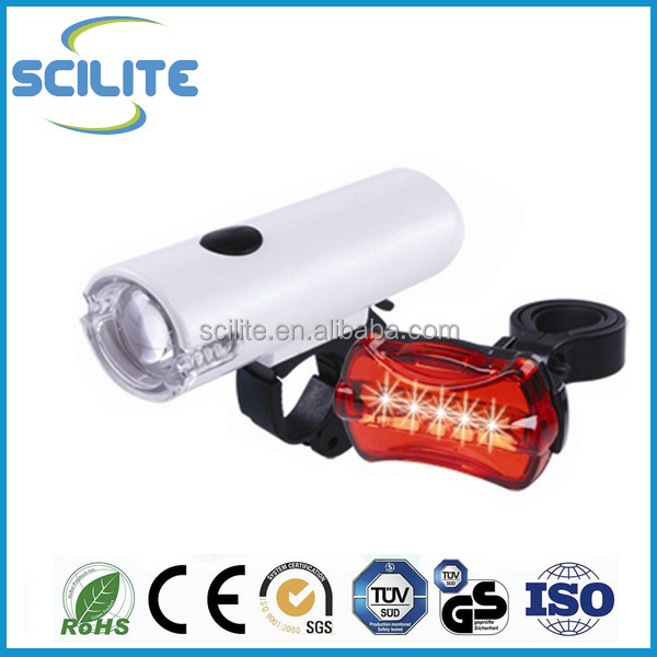Bicycle accessories bike light set 0.5W white LED headlight 5 red LED taillight