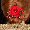 Red beauty lady woman rose flower hair accessories for bride