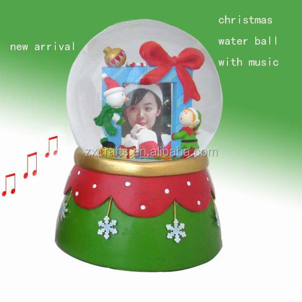 Christmas decoration snowball ,high quality resin snowglobe with photo frame
