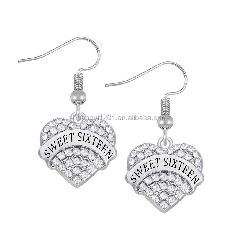 Wholesale new design custom styles sweet sixteen crystal heart charms <strong>earrings</strong>