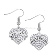 Wholesale new design custom styles sweet sixteen crystal heart charms earrings