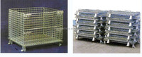 durable folding Metal warehouse storage cage with wheels