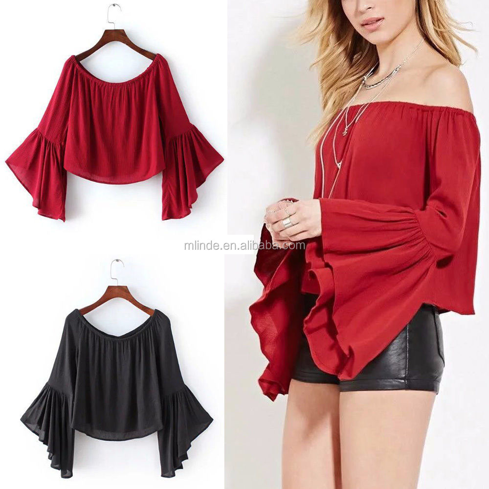 Sexy Ladies Off Shoulder Boat Neck Flare Sleeve Pullover Blouse T-Shirt Tee Crop Tops Wholesale CUSTOM