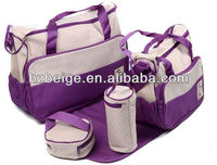 Mummy bag set travel bag set for baby care ,quilted baby diaper bag