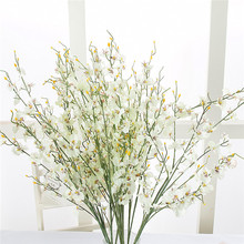 Spring artificial long flower silk cloth flower yellow color winter jasmine long dried branchHomewedding decoration