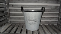 metal antique galvanized round bucket with words embossed