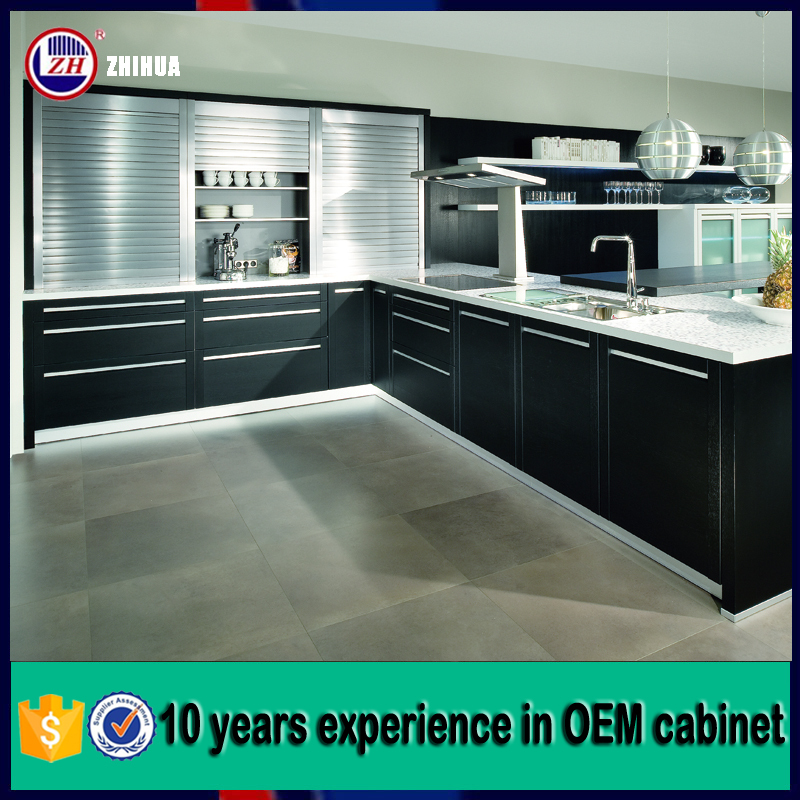 high gloss black luxury kitchen furniture