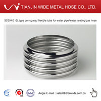 ss304/316L type corrugated flexible tube for water pipe/water heating/gas hose