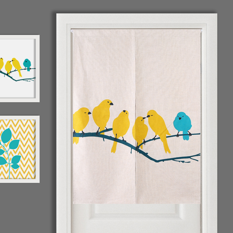 thick cotton linen door screen/birds door curtain