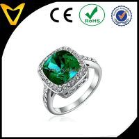 2.5ct Emerald with Austrian Crystal 18k White Gold Plated Green Gemstone Engagement Ring