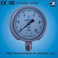 "Y-100B 10BAR bottom connection all SS 316 pressure gauge 100MM 1/2"" NPT accuracy 1.0% pressure gauge"