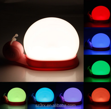 custom color changing night light for decoration/cartoon snail led night light on 7 color/plastic cute night light for kids