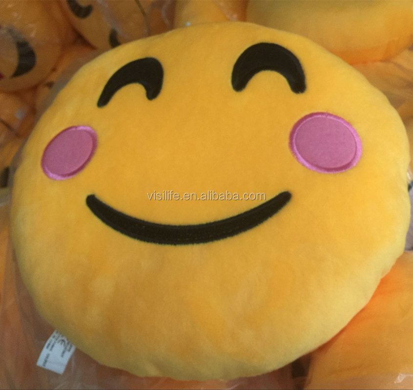 Visi Bed Home Office Car Emoji Smiley Pillow Emoticon Yellow Round Cushion Amusing Stuffed Plush Doll Soft Toy