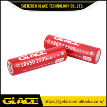 Safety Long LIfe Glace 3.7v Lithium Secondary Battery 2500mAh 18650 Battery Cell