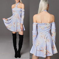 Latest Net Design Vintage Pretty Off Shoulder Flower Skater Dresses For Girl