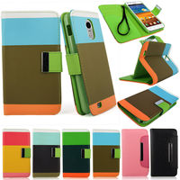 New hot Hit Rainbow color PU leather flip wallet case for samsung Galaxy s5