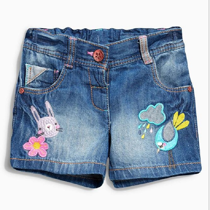 Girls Shorts Jeans 2017 Summer Brand Baby Girl Denim Shorts with Character Embroidery Kids Shorts Menina Children Pants for Girl