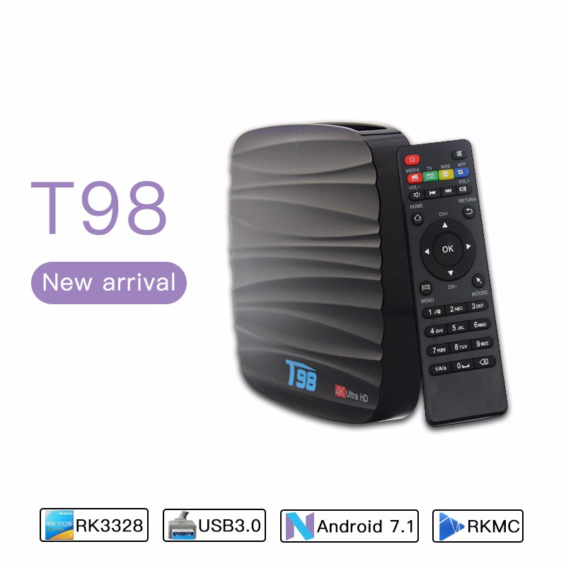 Wholesale price T98 Android 7.1 TV Box Bluetooth 4.1 Dual Band Wifi 2.4G 5G smart tv box