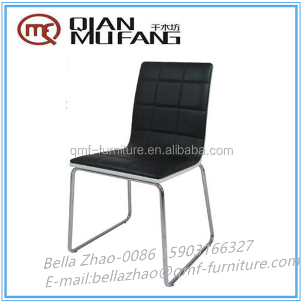 ergonomic PU and metal high gloss back wood dining chair