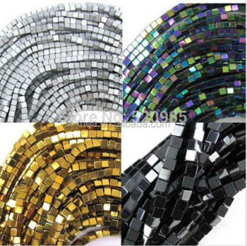 "Wholesale Black/Gold/Silver/Rainbow coated natural stone hematite cube square loose spacer beads 16"" electroplating 4*4mm"