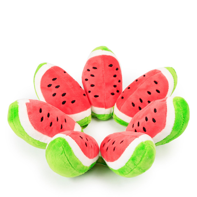 Handmade Squeaky Plush Dog Toy Watermelon Shaped Fruits Stuffed Toy