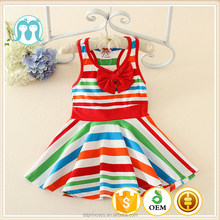 2017 Cheap Wholesale summer sports dress baby girl sleeveless Vest stripe kids clothes girls dress
