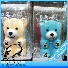 Lovely fashion bear shaped 3d silicon animal case for iphone 5