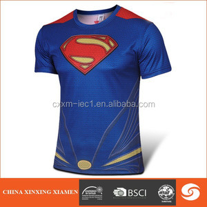 color blue super hero Iron man men's cotton jersey print t shirt